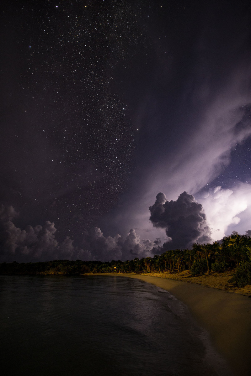 Night photography during a thunderstorm at the beach in Warderick Wells, Exumas, Bahamas.