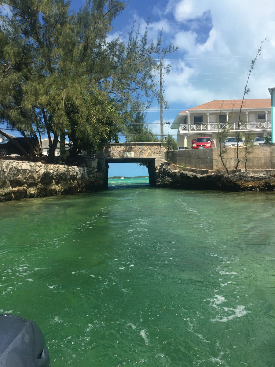 The only water entrance into Lake Victoria, at the town center in George Town, Exumas. Dinghy docks are located inside Lake Victoria.