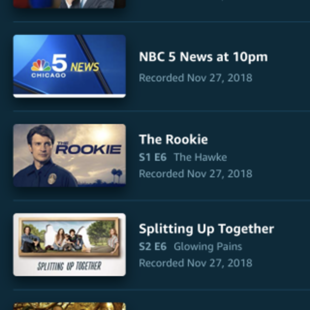 Fire TV app showing recordings on the Recast.