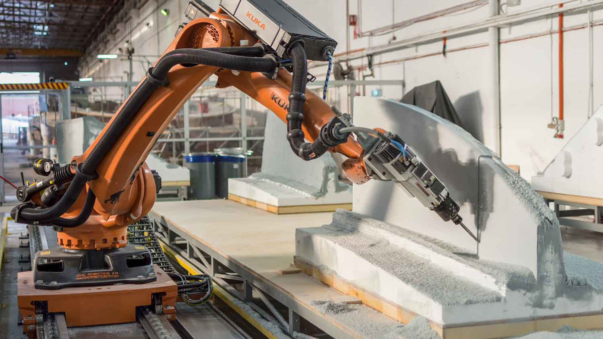 The Kuka robotic CNC machine hard at work.