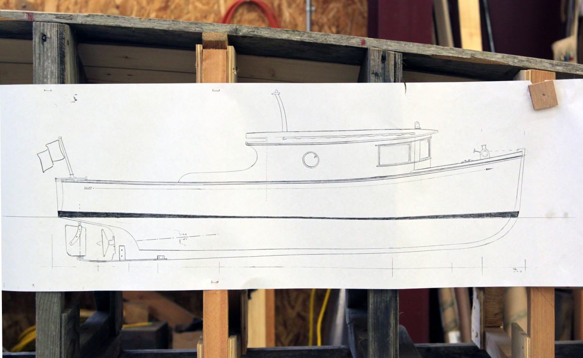 The drawing of the the 28-foot H.C. Hanson Forest Service Boat during the hull construction that took places between 2013 and 2014 at NWSWB.