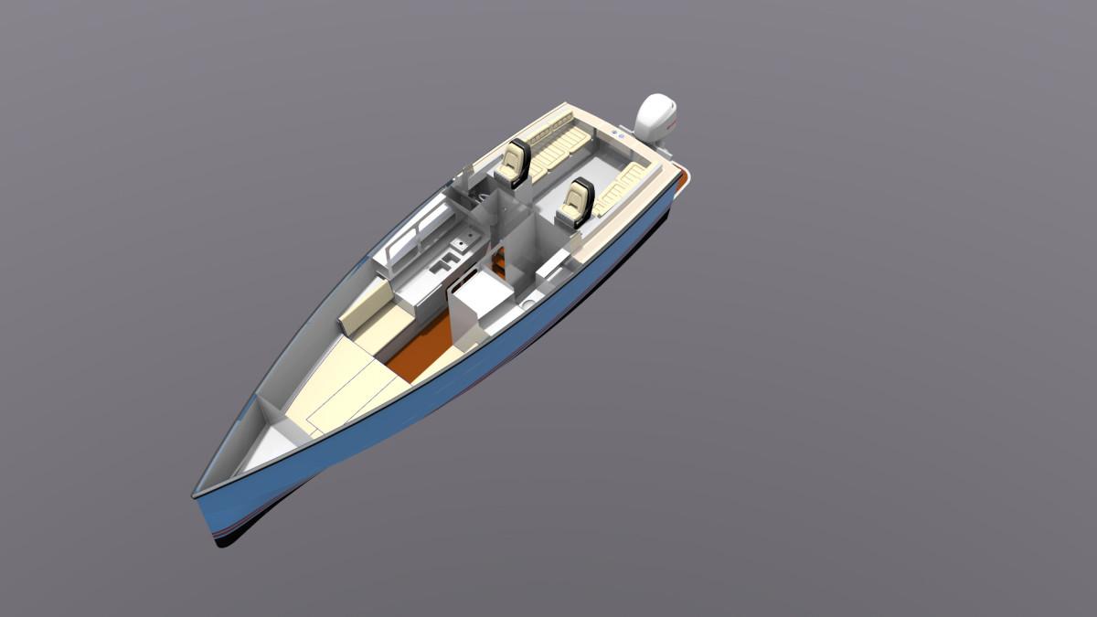 Codega's sailboat hull/outboard cruiser concept.