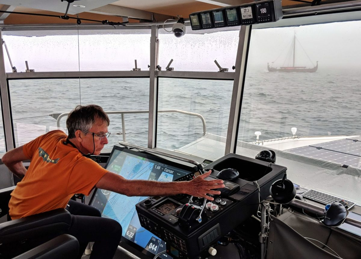 Luis Soltero at Cochise helm with Viking longship Draken.