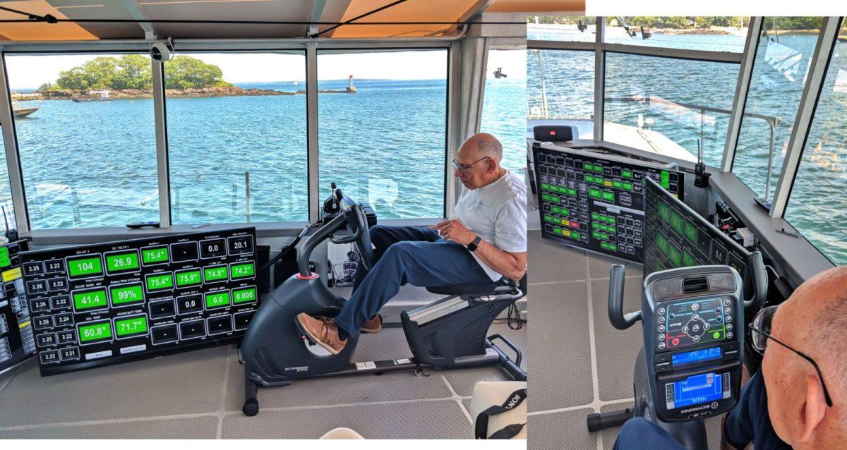 Steve Dashew demonstrating exercise helm mode on Cochise matrix deck July 2018.
