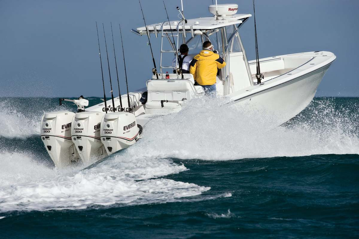 These two-stroke Evinrude 300-hp E-TECs pushed this SeaHunter Tournament 35 to a whopping 56 knots. Not bad, eh?