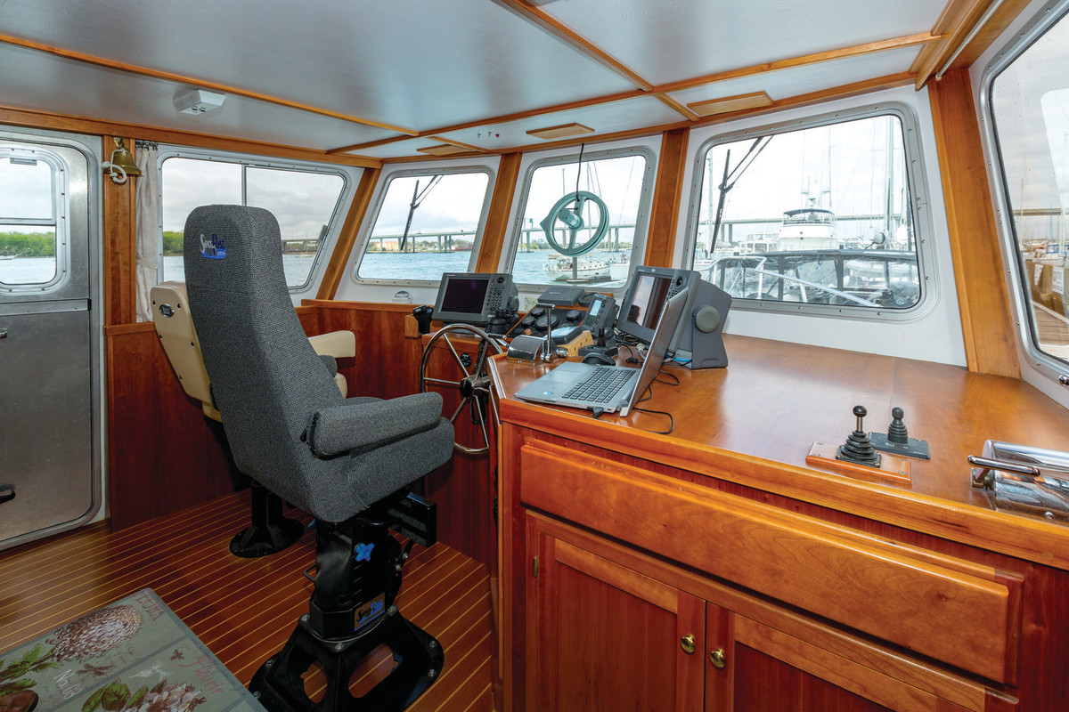 The generously sized and comfortable pilothouse.