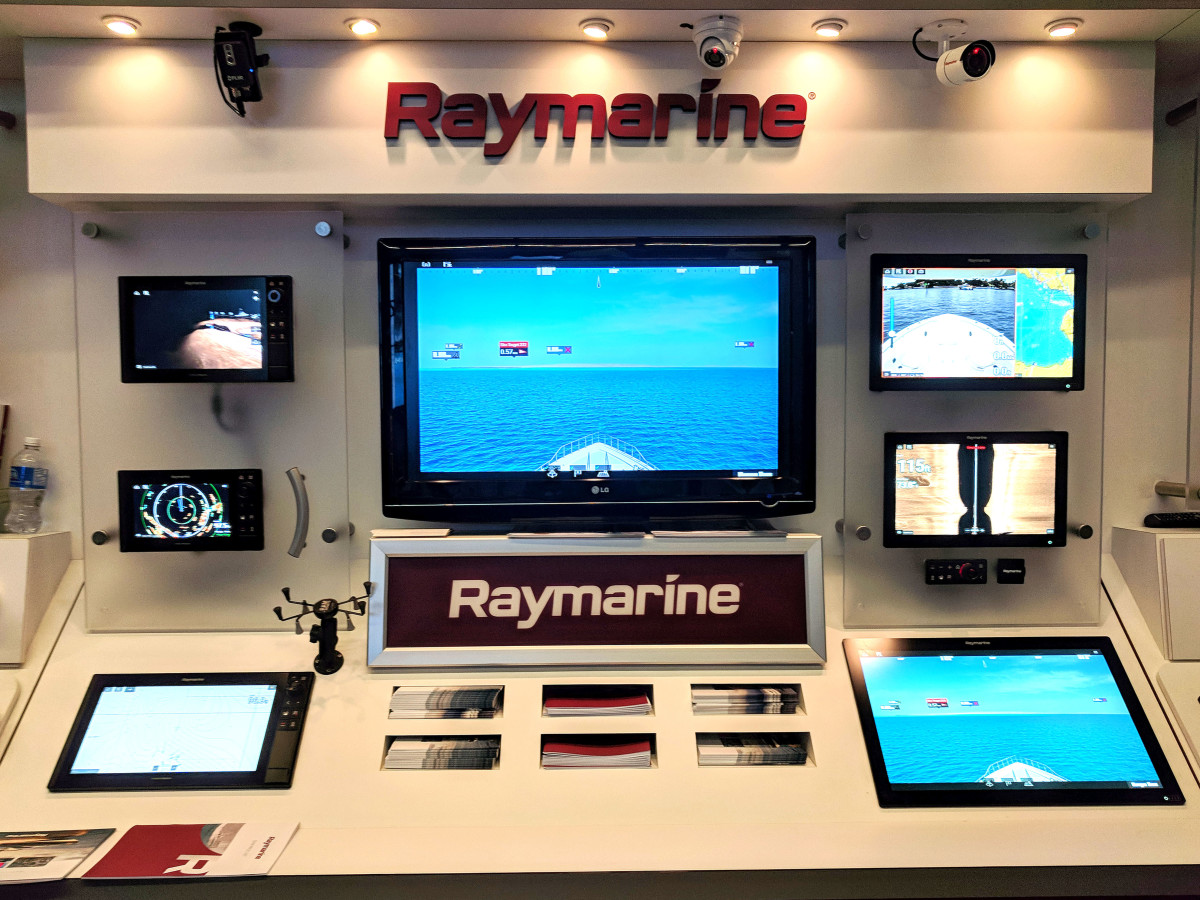 Raymarien's ClearCruise AR simulation on display at the Vancouver International Boat Show
