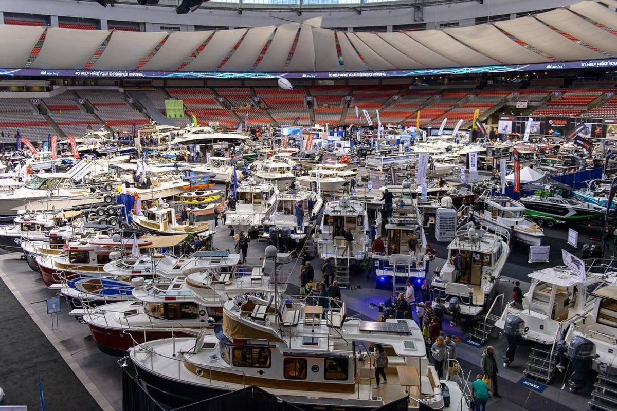 The Victoria International Boat Show has two locations. The indoor show takes place at BC Place and the in water show is hosted on Granville Island.
