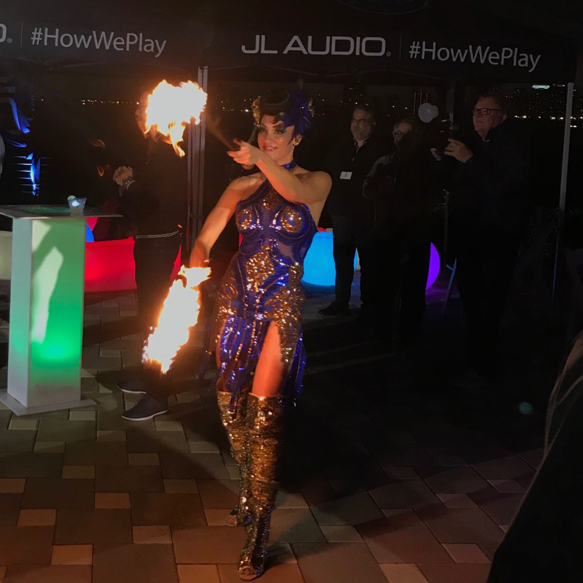 JL celebrated their launch in Miami with some fire dancers to show how hot their new product was.