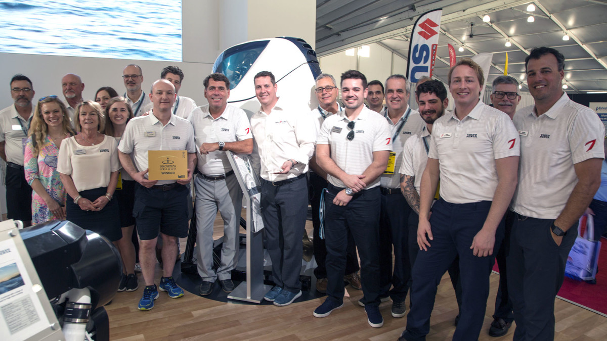 The Volvo marine team accepts the Innovation award from the NMMA.