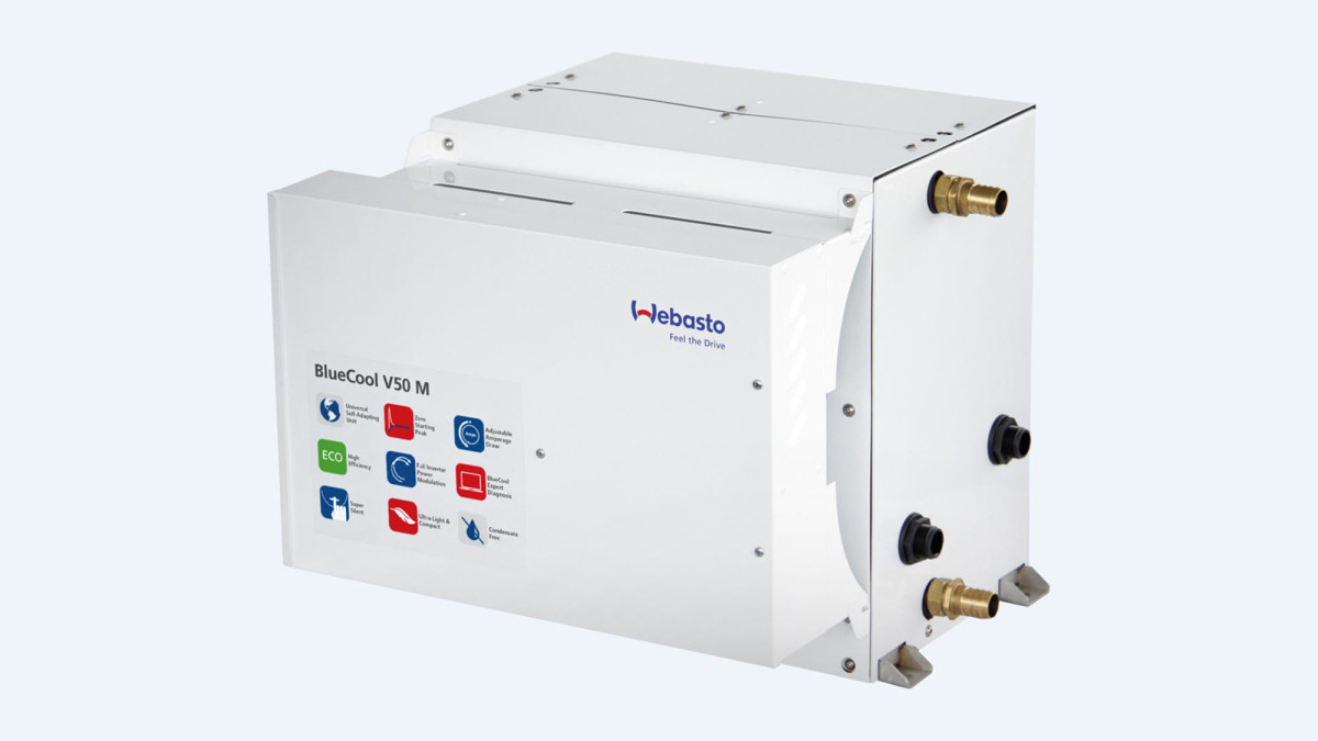 Webasto's BlueCool V-Series chiller systems employ variable-speed digital inverter type A/C compressors. Draw is 10 percent less than that of more traditional systems.