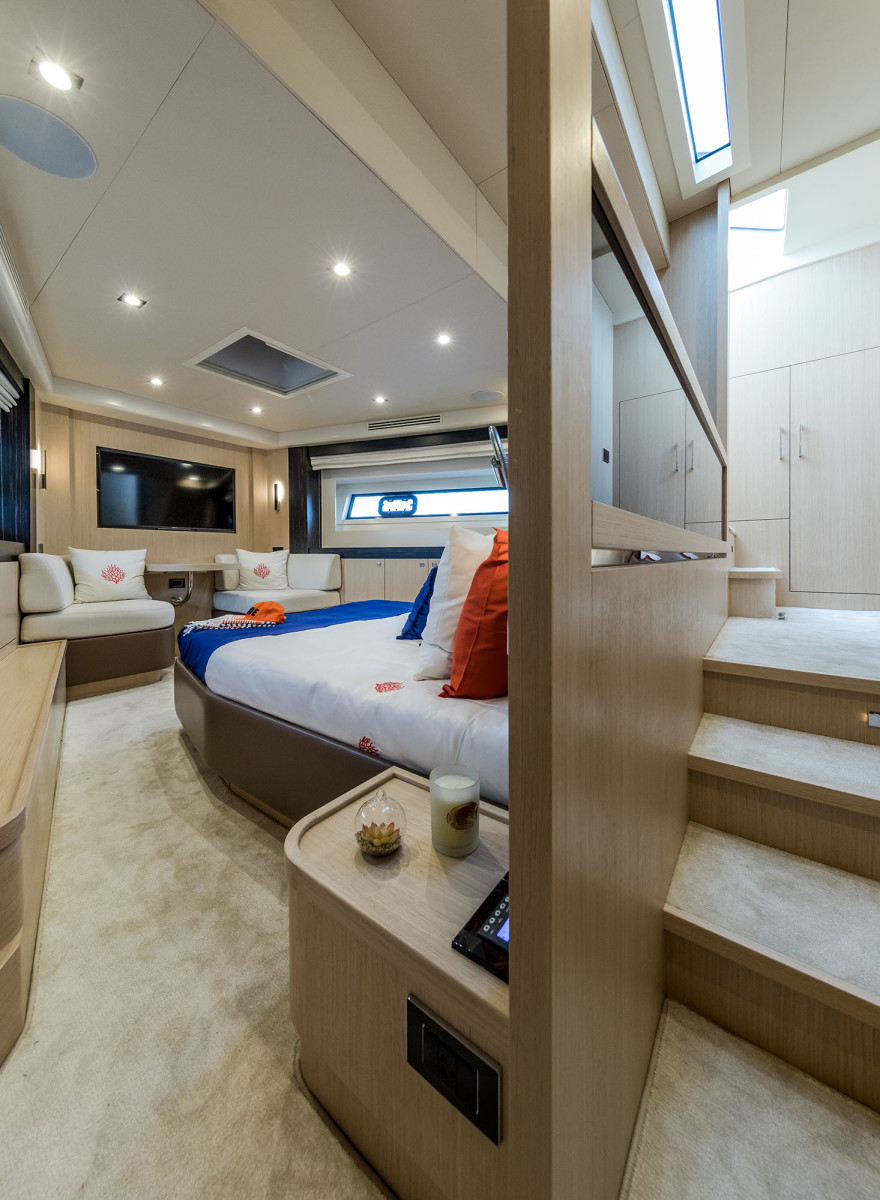 The Sirena 58's full-beam master stateroom is roomy and bright, a far cry from the typical 'cave effect.'
