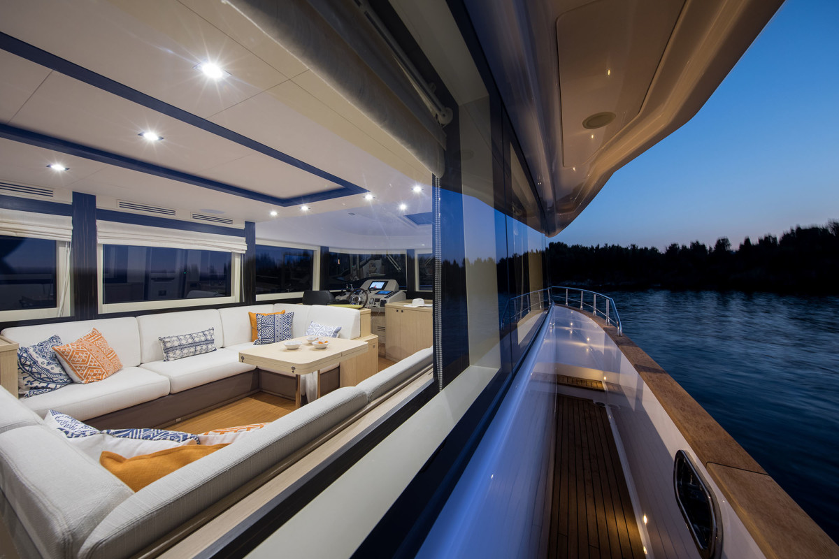 Wide side decks and hip-height bulwarks give the Sirena 58 an aura of a much larger yacht.