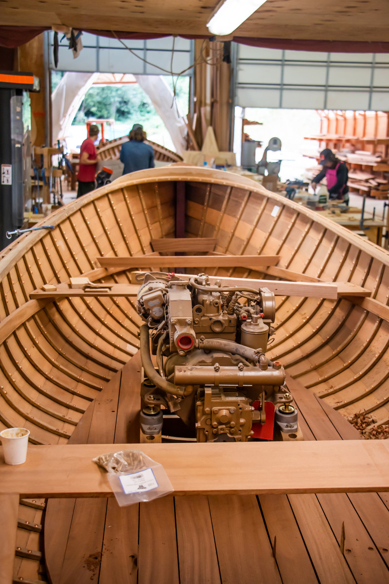 A 16-foot boat commissioned by the Boat School's executive director, Betsy Davis, is well underway as part of the Traditional Wooden Boatbuilding program.