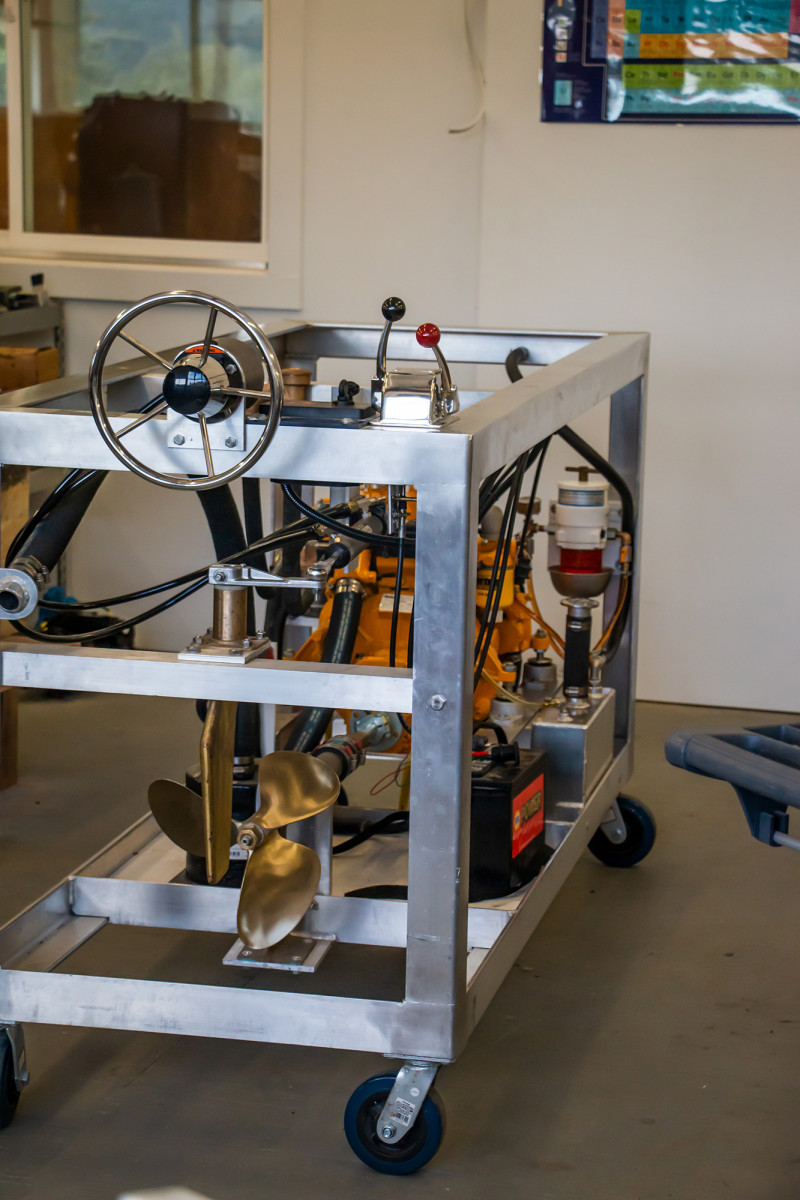 This fully functioning power system module is part of the new Marine Systems program to educate students on diesel engine systems.
