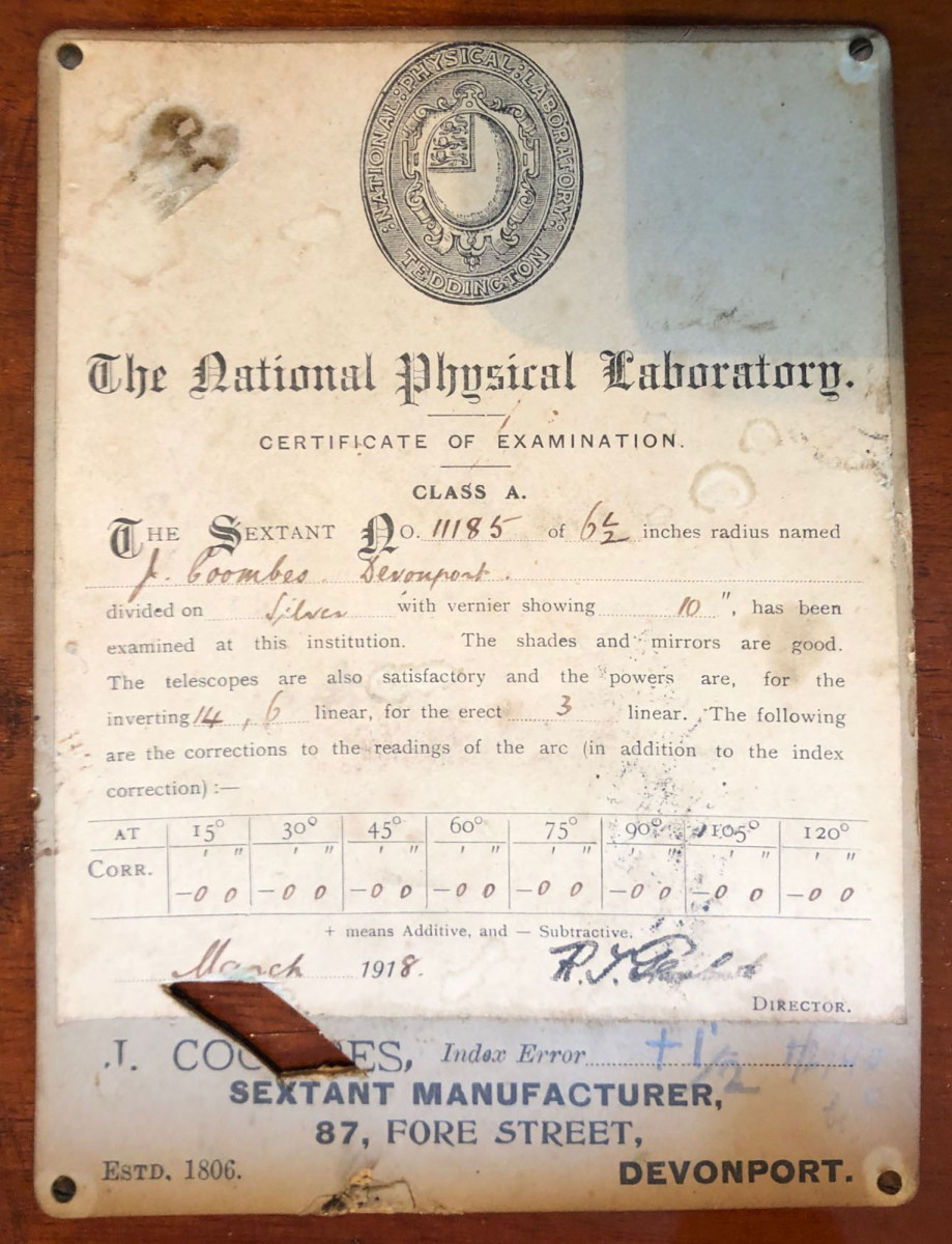 The certificate of inspection for a 1918 Silver Scale Vernier Sextant attests to the importance attached to the highest levels of accuracy expected from this vital (at the time) navigational tool.