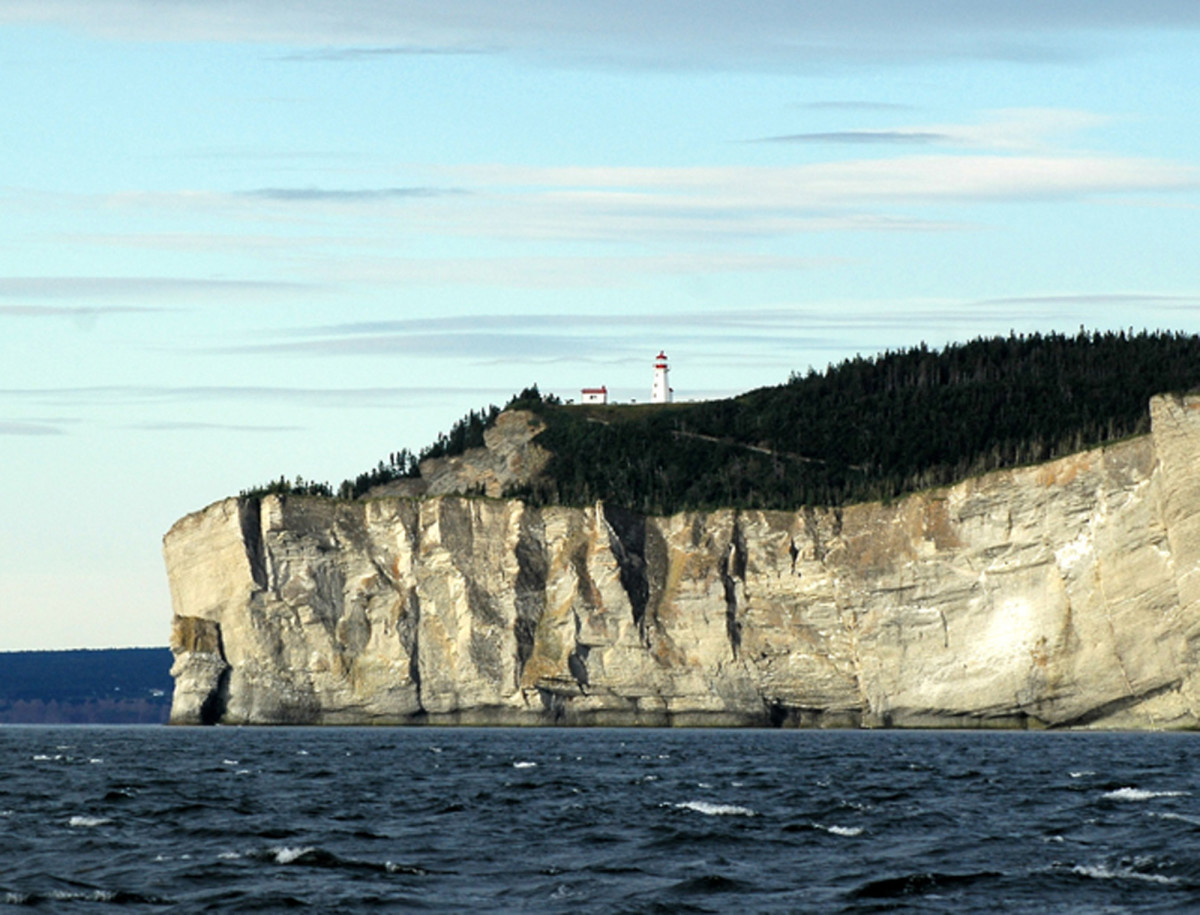 Sea cliffs dominate the Gaspé Peninsula along the south shore's easternmost point on the Saint Lawrence River.