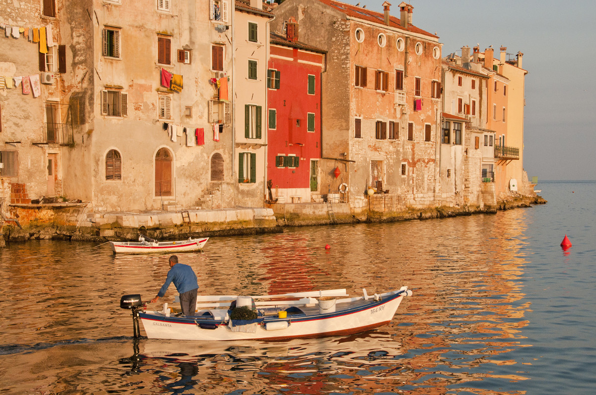 You can't help but wonder how these medieval walls in Rovinj, Croatia, survive winter storms.