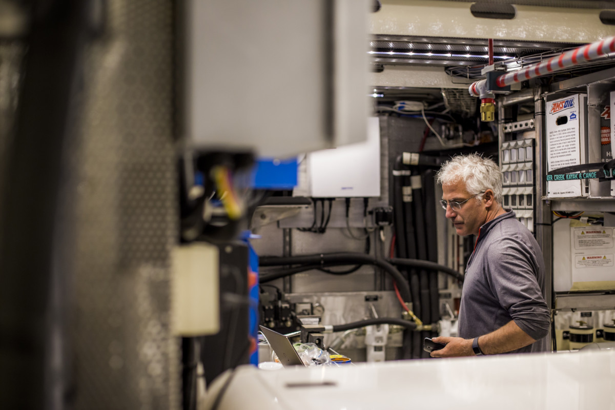 Chris Brignoli monitors the complex systems housed within New Pacific'sundefinedengine room.