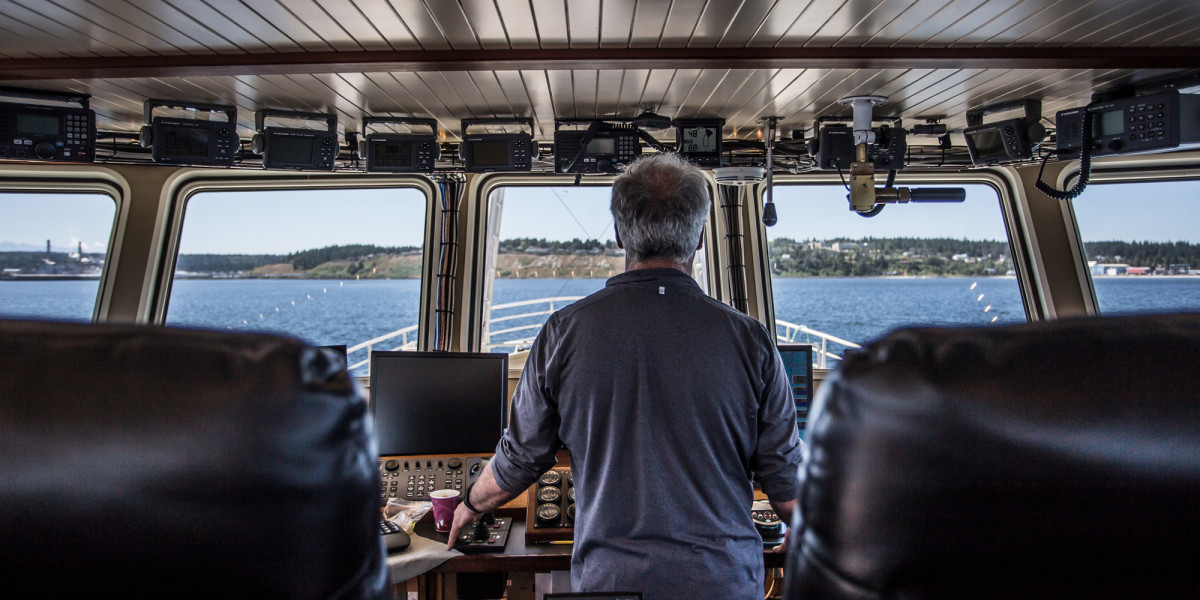 Brignoli mans the pilothouse during sea trials outside of Port Townsend.