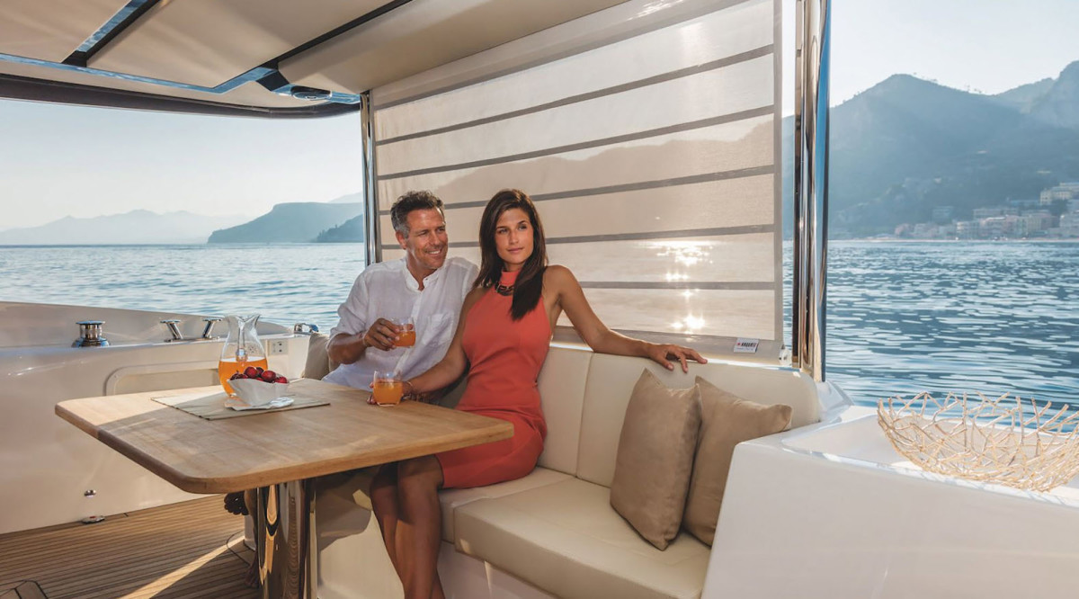 The Absolute Navetta 52's aft cockpit provides a wonderfully shaded area for dining al fresco.