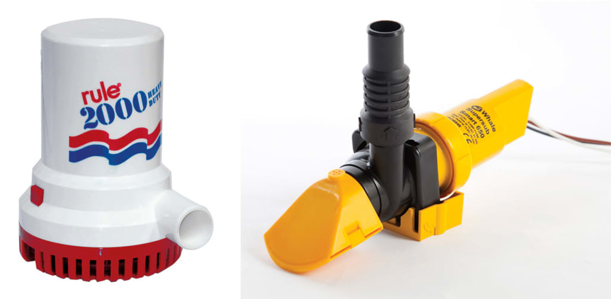 The Rule 2000 is an example of a typical small-boat bilge pump (left); Low-profile pumps like this one from Whale work well in tight spaces (right).