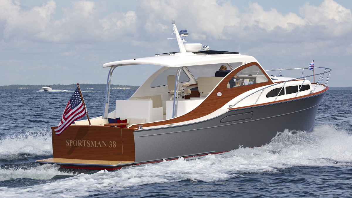 Huckins yachts have strong DNA. Though more than 80 years separate the two models, you'd be forgiven for momentarily confusing the new Huckins Sportsman 38 with its ancestor, the Huckins Sportsman 36 as it flies past you at 35 knots. Their shared pedigree goes well beyond those eye-catching stanchions.
