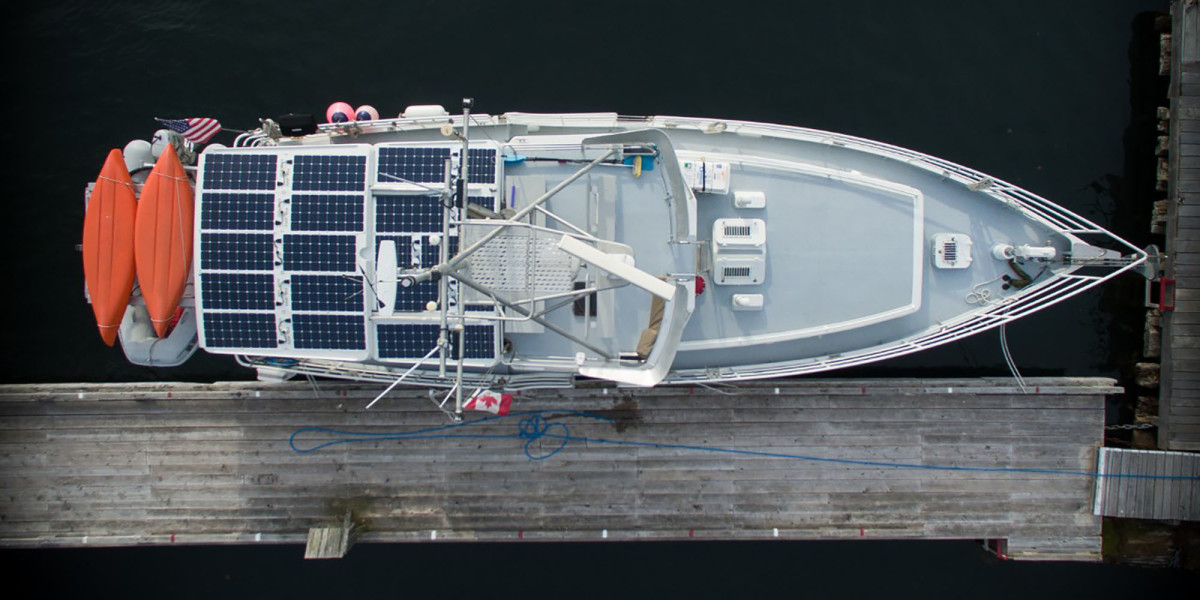 An aerial view shows the solar array on Peter Geerlof's Diesel Duck, Seaducktress.