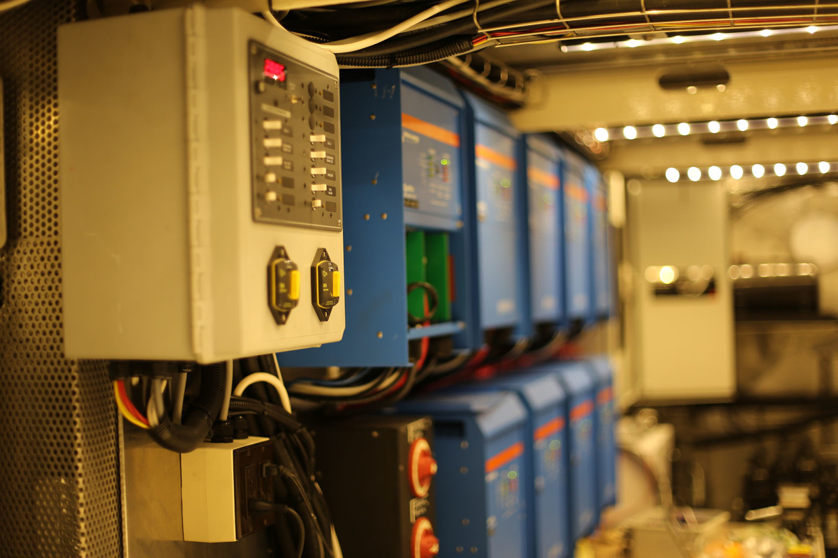 New Pacific's engine room has a bank of nine Victron inverter/chargers.