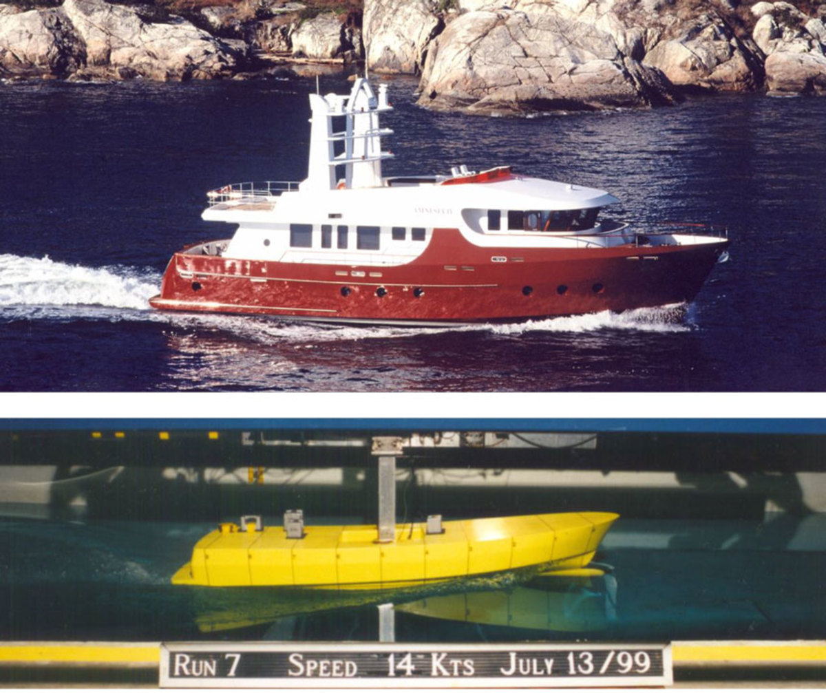 """Cape Scott 86 – MV """"Amnesia IV"""" -The trip from Vancouver, B.C. to San Diego, CA took 7 ½ days with an average speed of 9.6 knots over the ground. With generator run time included we averaged 3 litres per mile (6.25 US gal/ hr). Even in 40+ knot winds and really big seas the boat handled very well. From the delivery trials Sept. 20, 2004."""