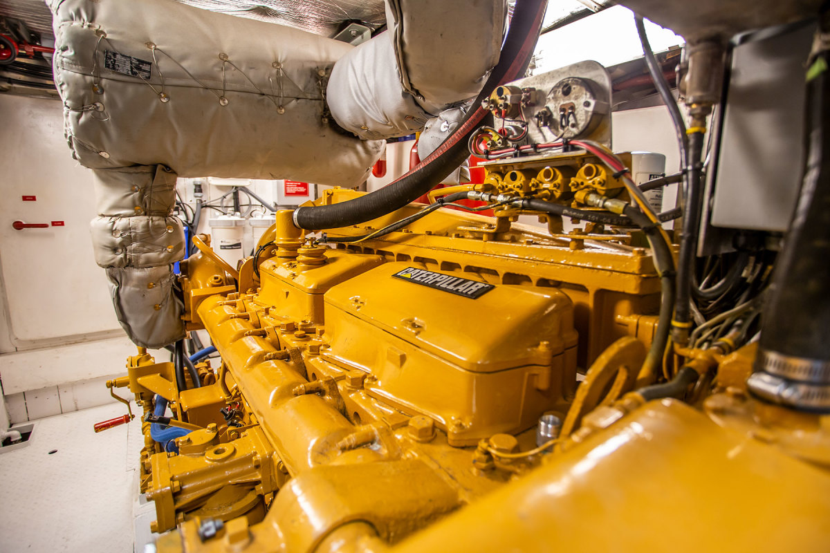 The engine room provides easy access to the single Caterpillar diesel.