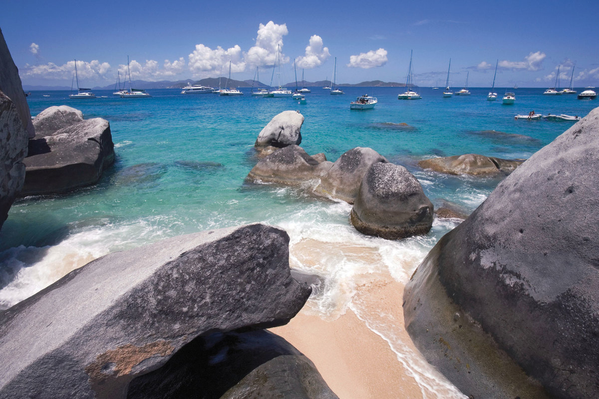 A magical playground for children of all ages, these tumbled boulders, eerie caverns and sunlit pools make The Baths on Virgin Gorda a BVI landmark that has endured for eons.