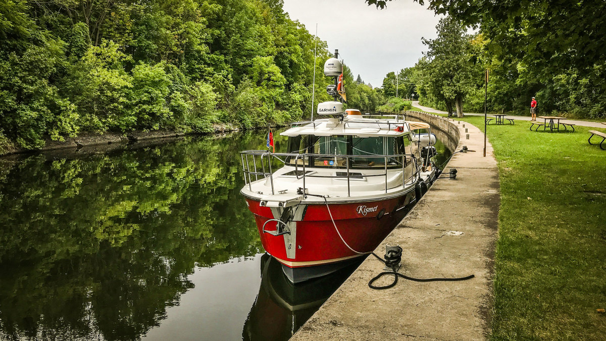 Kismet awaits a lock on the Trent-Severn Waterway