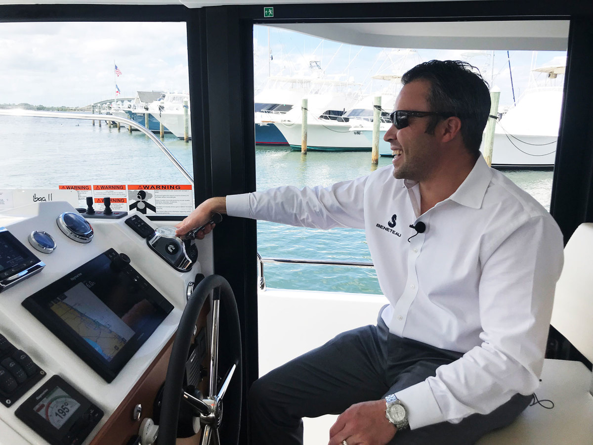 Justin Joyner says Beneteau is still giving in-person tours of yachts like its Swift Trawlers, in addition to online conversations and videos (photo taken prior to Covid-19).