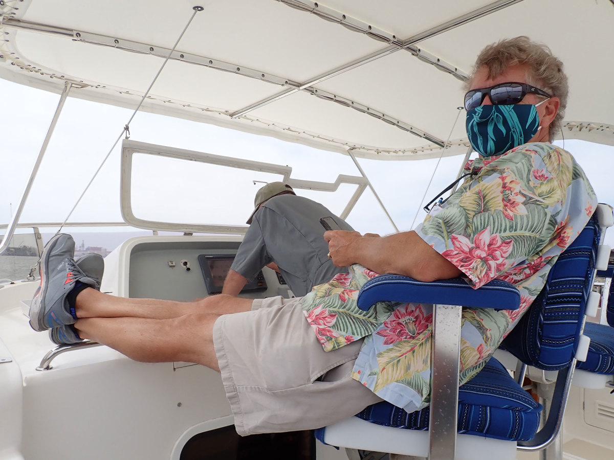 Broker Jeff Merrill is conducting sea trials and boat tours during the pandemic, albeit with safety precautions such as masks and social distancing.