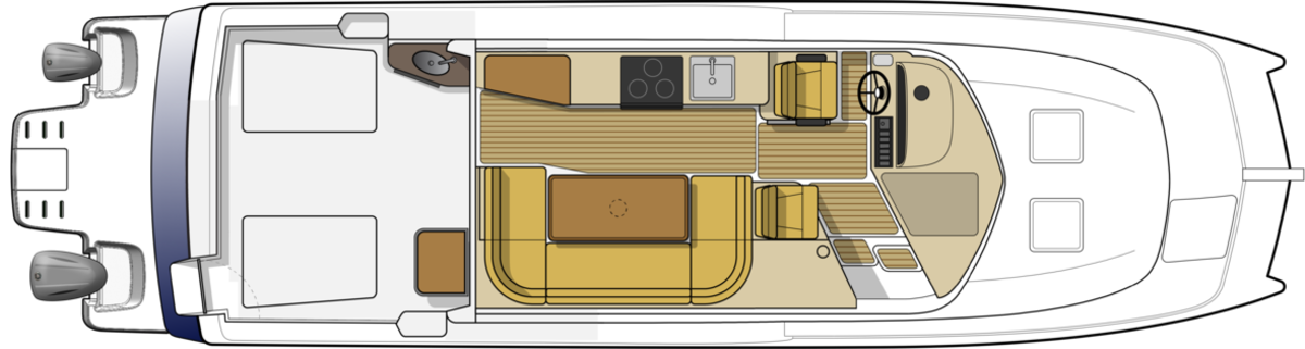 With this new design the overall living space of the new Aspen C108 is increased. The wider salon makes the galley more functional and allows for a large wrap around dining/seating area.
