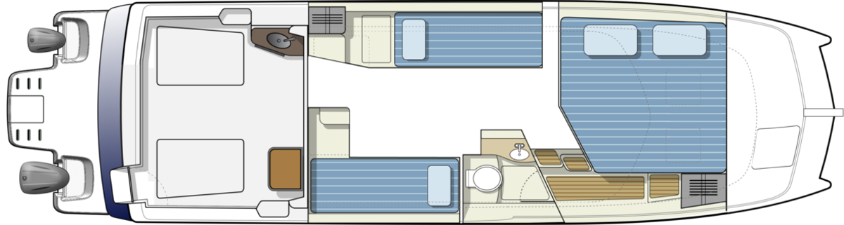 An additional second twin quarter berth, meaning three private cabins and a large head are all nicely allocated on this efficient, trailerable cruiser.