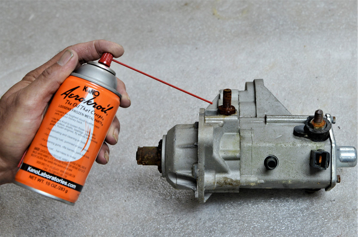 """Kroil can help loosen """"frozen"""" parts. The low viscosity and """"creeping"""" ability helps the fluid work its way into the threads."""