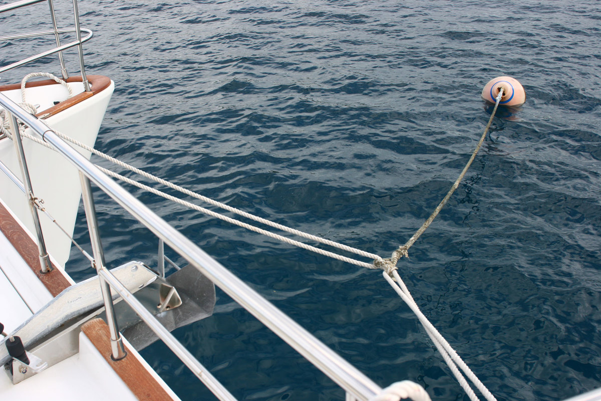 Proper use of a bridle will help center the buoy when moored and make departing a cinch.