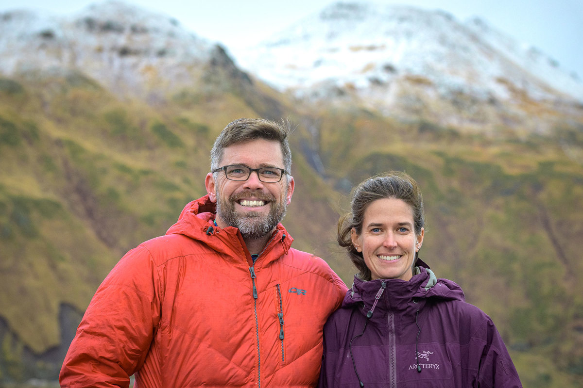 John and Becca Guillote celebrate the ship's arrival in Dutch Harbor at the end of the 30-day Arctic science cruise.