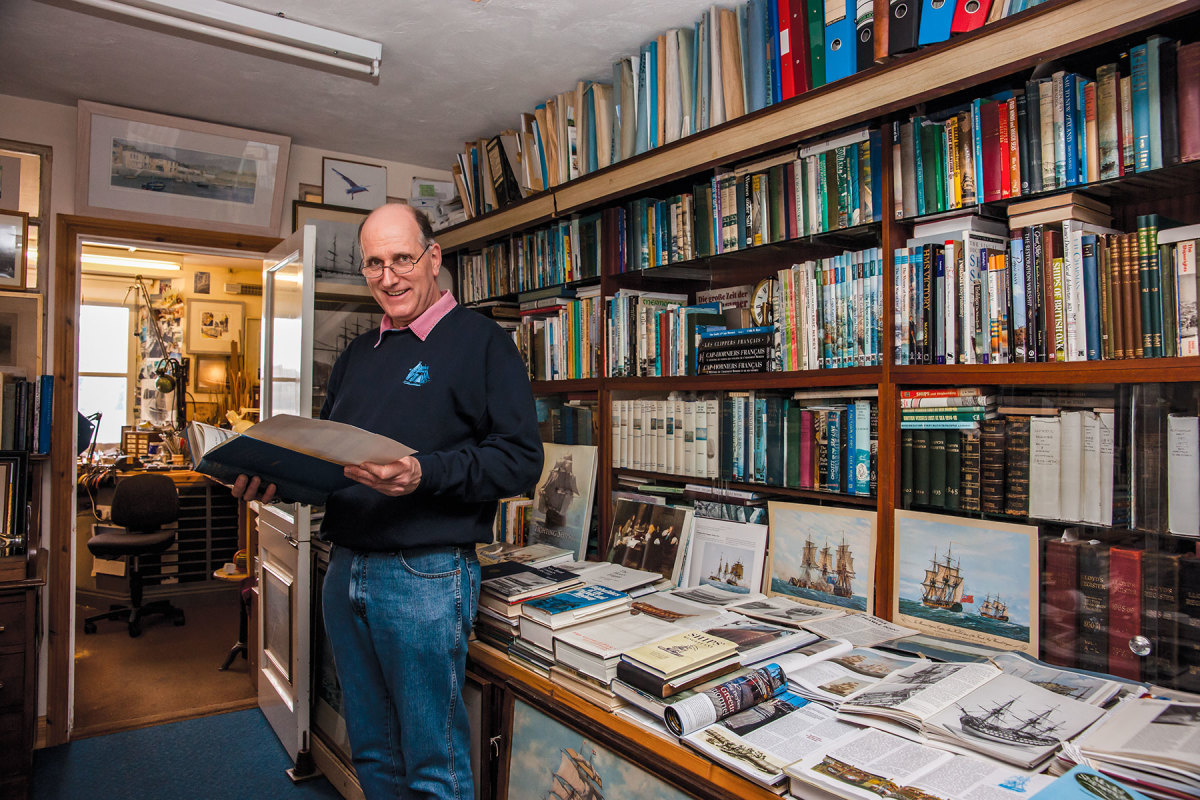 Model maker Malcolm Darch at his home office in Salcombe, England.