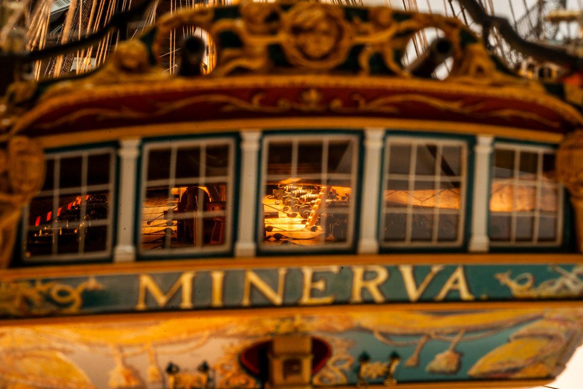 Gun deck detail inside Minerva's transom