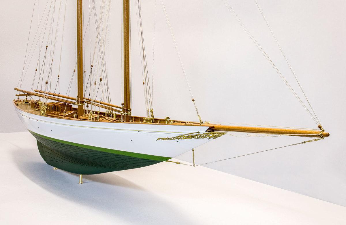Cicely, the Edwardian-era schooner, on display.