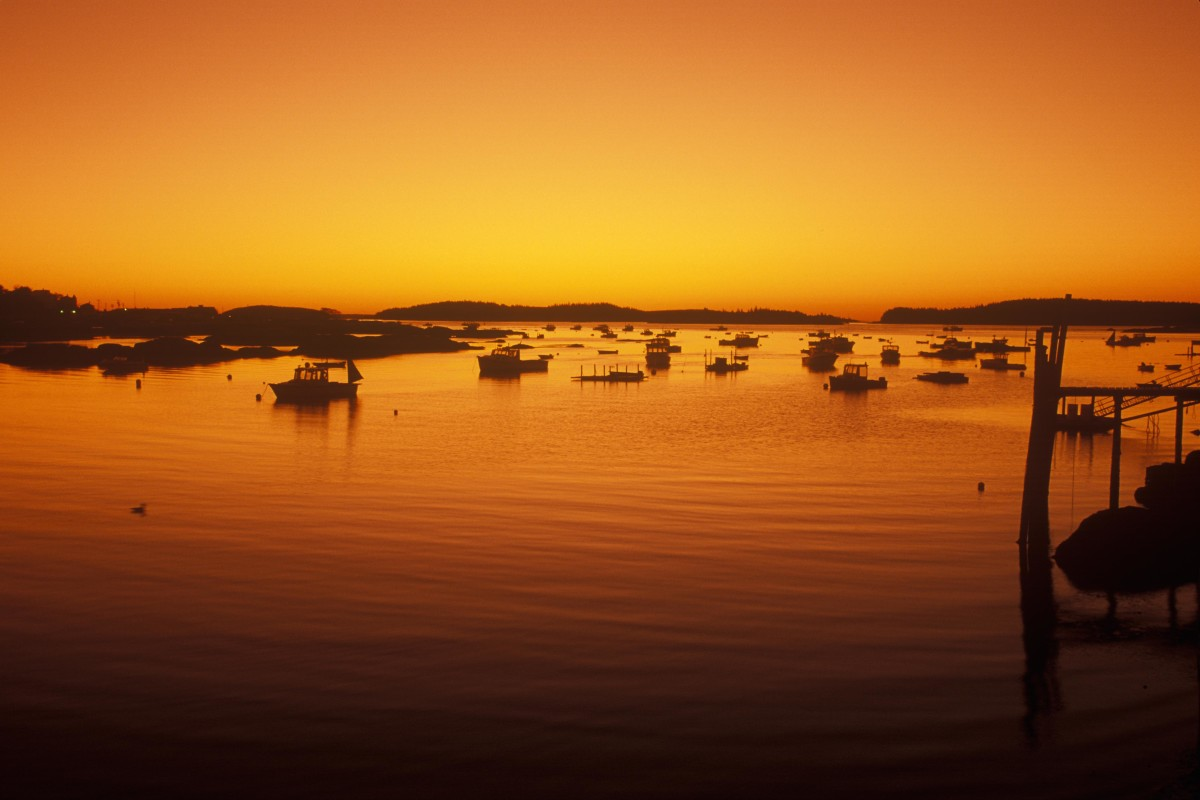 Sunrise on the harbor in Stonington, Maine