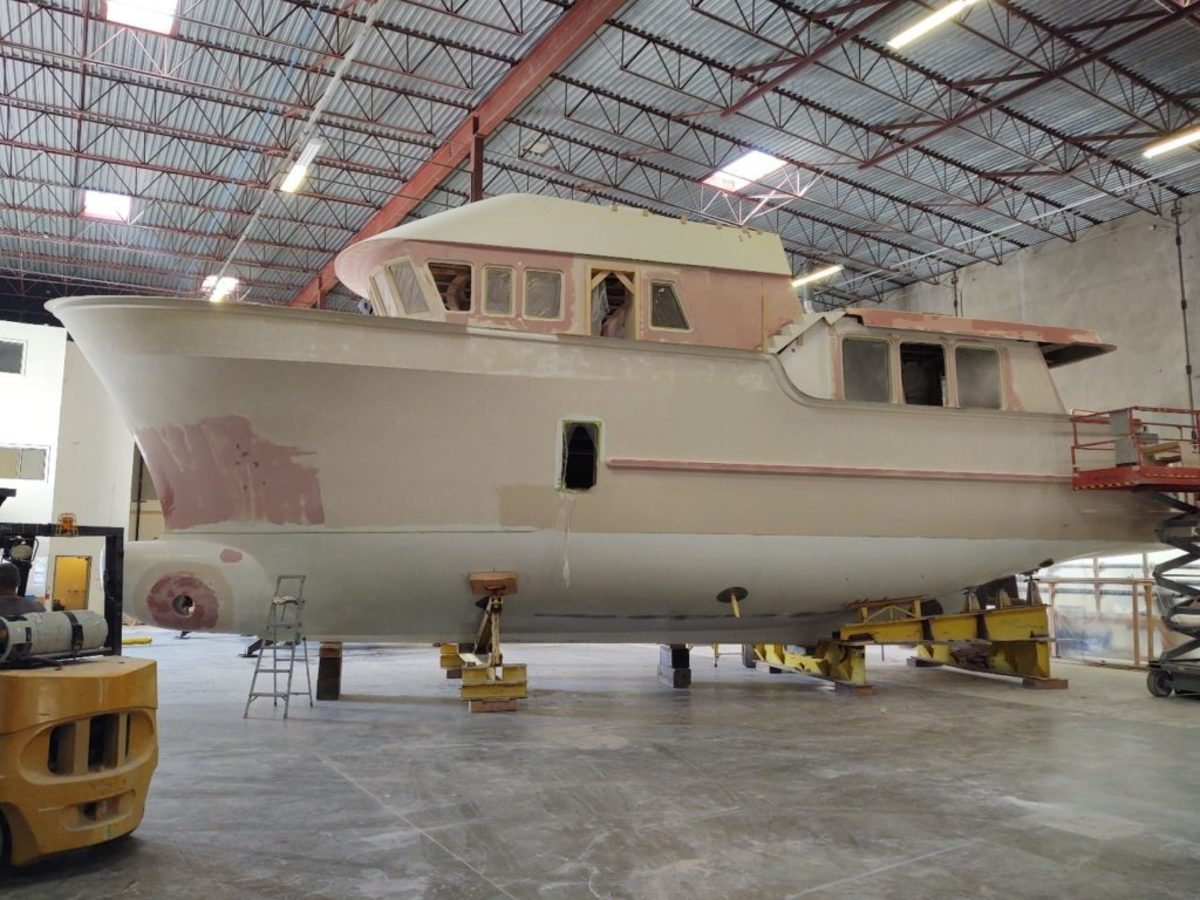 Photo taken after the critical hull/deck joining procedure.