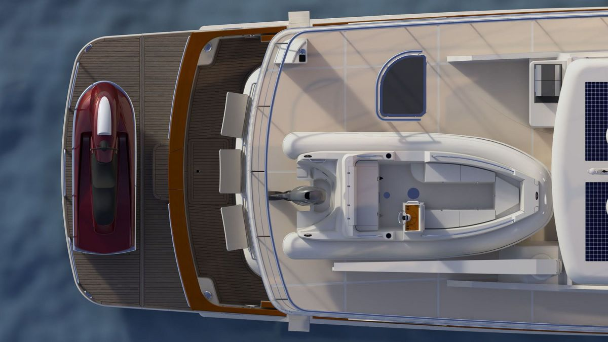 Flybridge deck: Everything you need for cruising, entertaining and relaxing, as well as space for a 17-foot tender that can be launched on either port or starboard sides via the 2000 lb. crane.