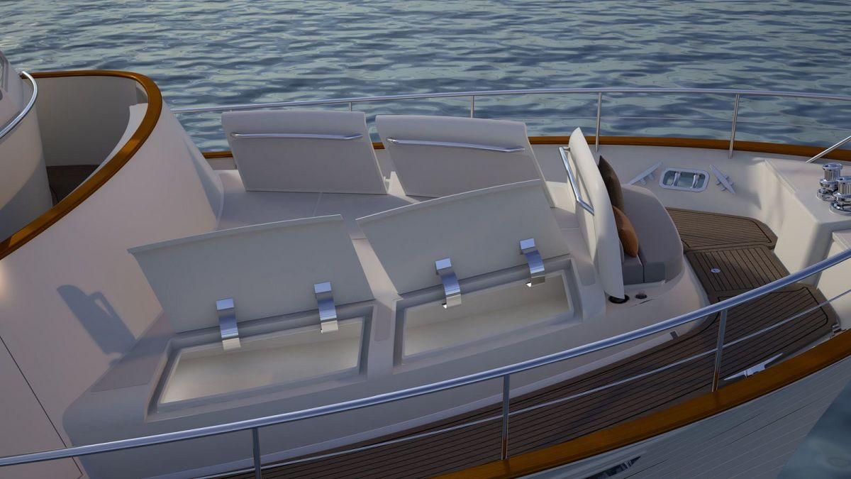 Foredeck: Hydraulic and electric Maxwell windlasses, Ultra anchors and s/s chain. Huge storage lockers for all shapes and sizes of gear. Fold away seating alcove.