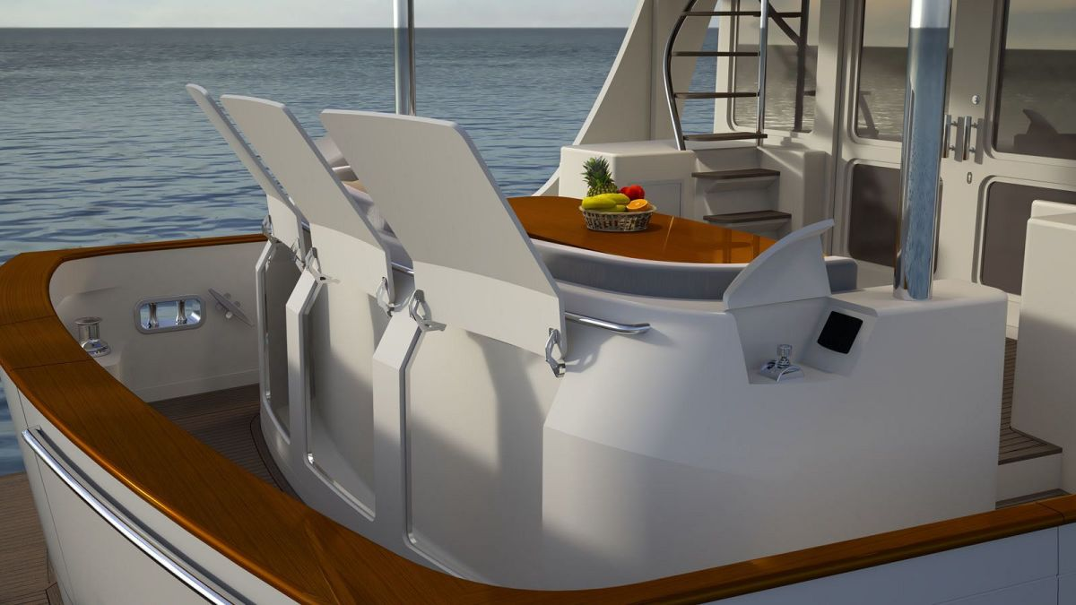 Cockpit: Easy access, ample storage for all the dive gear and fishing equipment you may need. Warping winches to help take the load off.