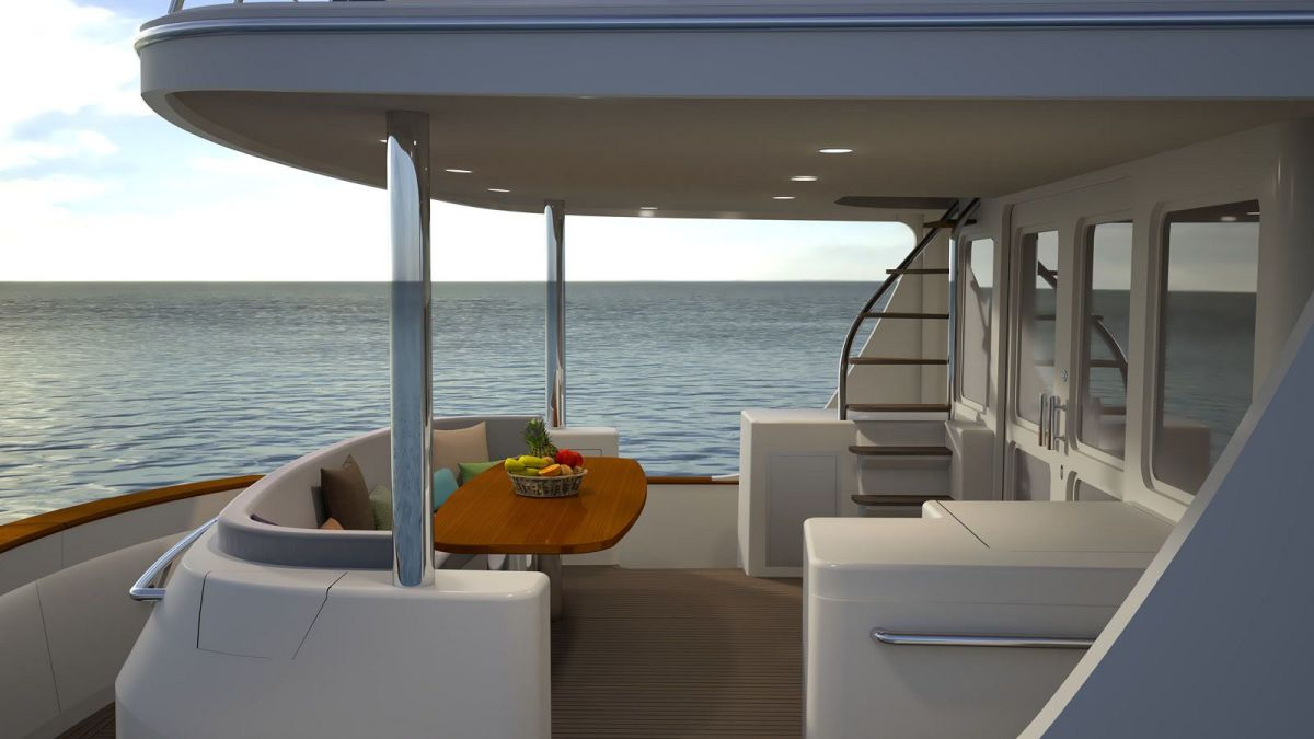 Aft deck: Raised and sheltered seating and dining for 10 with sheltered gull-wing door access to engine room and crew's quarters below.