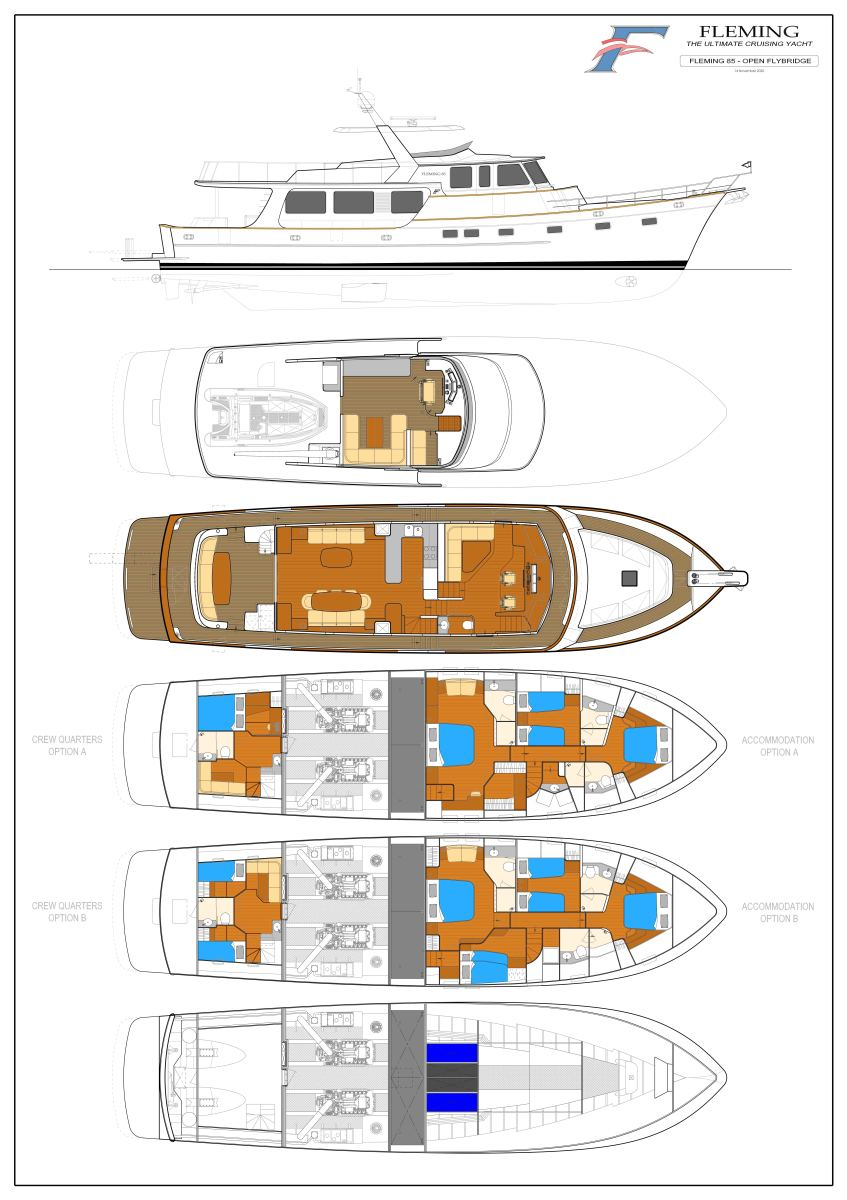 Fleming 85 Open Flybridge version. Click the plan for a larger image.